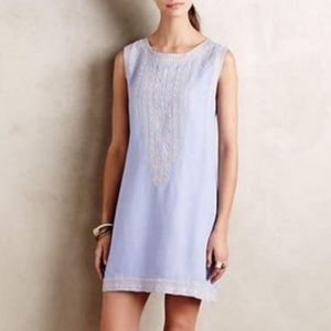 Holding Horses Anthro Linen Embroidere Shift Dress